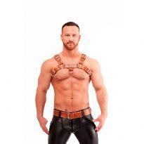 Mister B bröstsele i brunt sadel läder, sytt