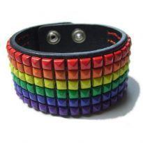 Club HomowareGay Pride Leather Stud Bracelet, Tripple studs