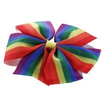 Hair bow, Rainbow colored