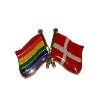 Pin med den danska flaggan och regnbågeflaggan
