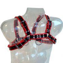 Svart Bröst Harness med röda ränder