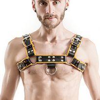 MisterB gummi bröst harness - Svart/Gul