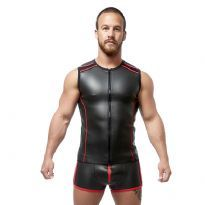 Club Homoware Mister B Neoprene Sleeveless T Zip - Svart/Rød, X-Large