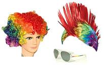 Peruker för gay pride paraden, regnbåge peruker i vackra färger