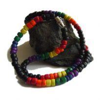 Club HomowareRegnbåge halsband, Svart med liten regnbåge