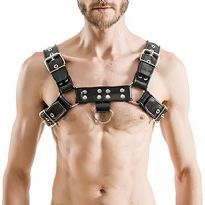 MisterB gummi bröst harness - Svart/Svart